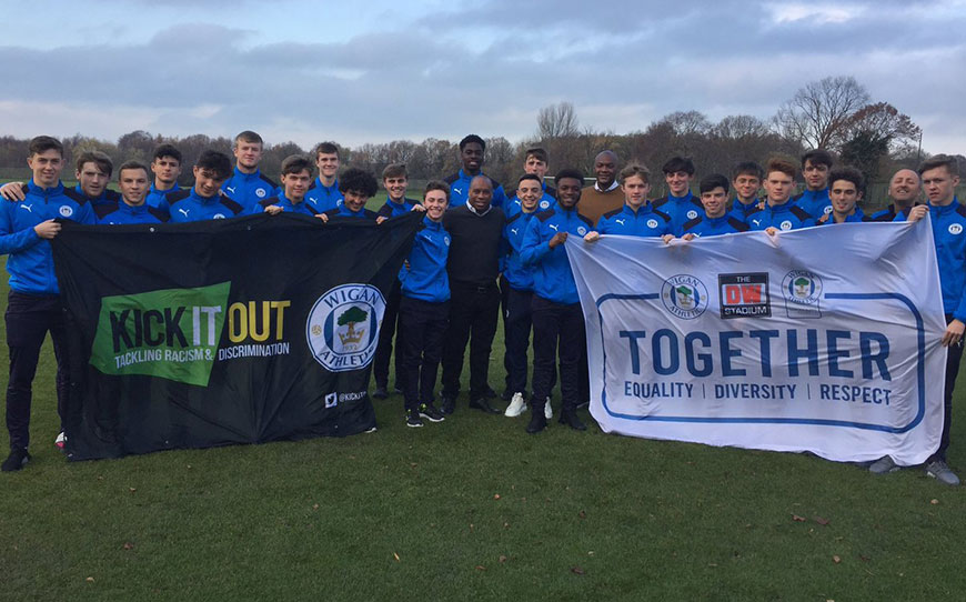 Wigan Athletic Apprentices Support Rainbow Laces In Kick It Out Workshop